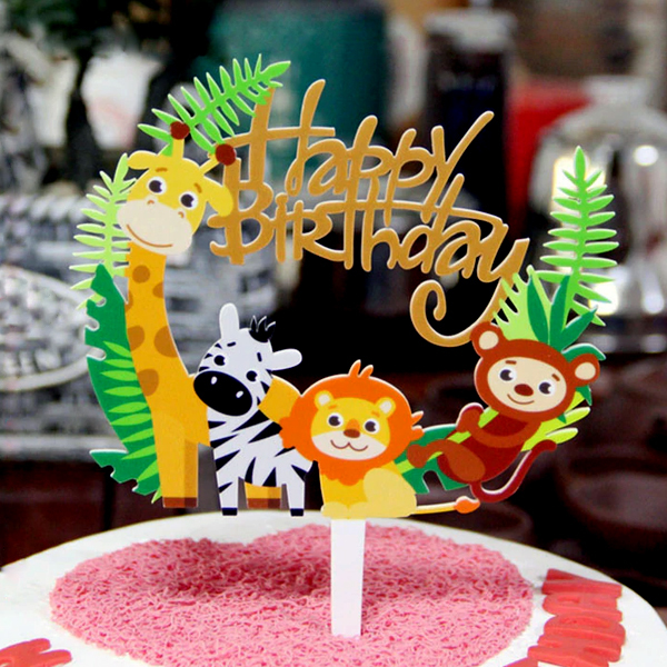 Jungle Animal Happy Birthday Cake Topper