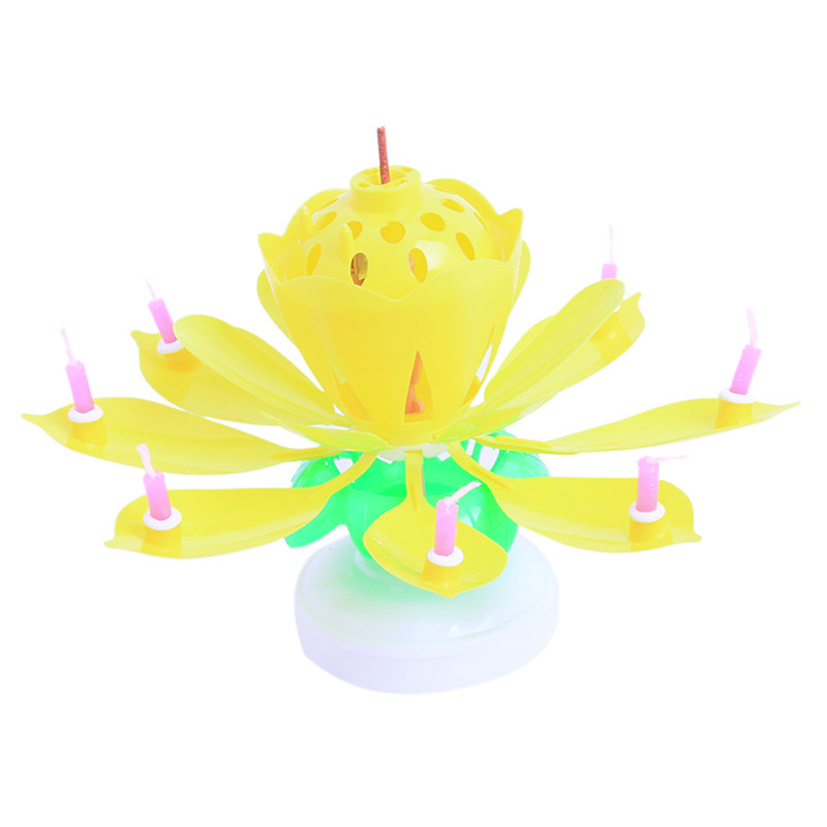 Lotus Flower Musical Birthday Candle Yellow