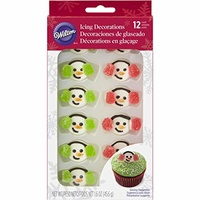 Wilton  Royal Icing Decs- Snowman With Gumdrop Earmuffs 12pcs