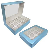 Cupcake Display Box Blue - 12 Cupcakes