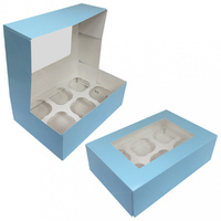 Cupcake Display Box Blue - 6 Cupcakes