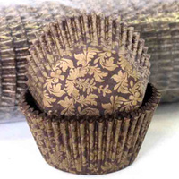 HIGH TEA - GOLD/CHOC CUPCAKE BAKING CASES 4.4CM 500 PACK