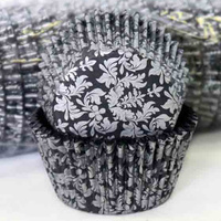 HIGH TEA - SILVER/BLACK CUPCAKE BAKING CASES 4.4CM 500 PACK