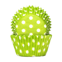 POLKADOT LIME GREEN BAKING CUPS 4CM - 100 PACK