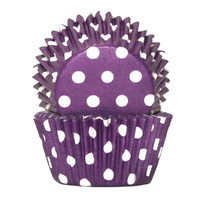 POLKADOT PURPLE BAKING CUPS 4CM - 100 PACK