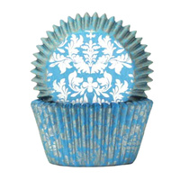 HIGH TEA SILVER & BLUE BAKING CUPS 4CM - 100 PACK