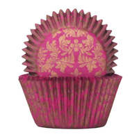 HIGH TEA GOLD & PINK BAKING CUPS 4CM - 100 PACK