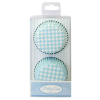 GINGHAM & HOUNDSTOOTH BAKING CASES BLUE - 50 PACK