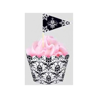 Damask Flat Baking Cups & Picks - 18 Pack
