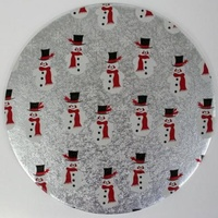 Xmas Snowman Silver Round 10 Inch Cake Board 4mm