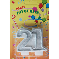 21 Numeral Candle Silver