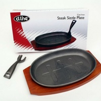 D Line Cast Iron Steak Sizzle Plate