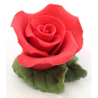 Tiny Red Rose With Leaves