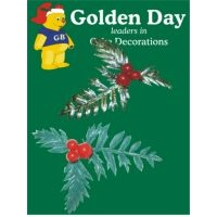 Gold & Green Plastic Holly