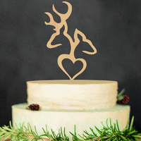 Wooden Stag And Doe Heart Cake Topper