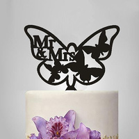 Acrylic Mr & Mrs Butterfly Cake Topper