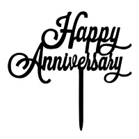 Happy Anniversary Black Acrylic Cake Topper