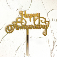 Happy Anniversary Acrylic Cake Topper - Gold
