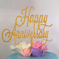 Happy Anniversary Gold Acrylic Cake Topper