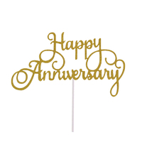 Happy Anniversary Cake Topper Sign Large - Gold
