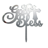 God Bless Silver Acrylic Cake Topper