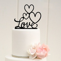 Acrylic Love With Hearts Cake Topper