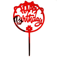 Birthday Cake Topper Red Acrylic
