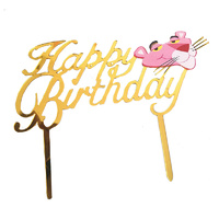 Acrylic Happy Birthday Pink Panther Cake Topper