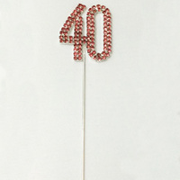 4cm Diamante Cake topper 40th Pink