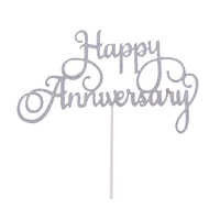 Happy Anniversary Cake Topper Sign Large - Silver