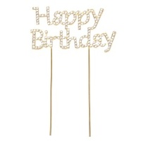 Happy Birthday Diamante Cake Topper Gold