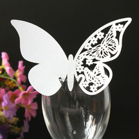 Butterfly Wine Glass Place Card White Pack Of 10