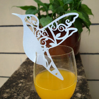 Bird Wine Glass Place Card White Pack Of 10