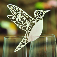 White Bird Wine Glass Name Card Pack Of 10