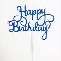 Happy Birthday Cake Topper Sign Large - Blue