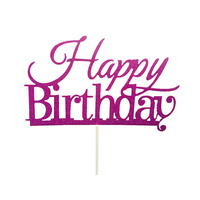 Happy Birthday Cake Topper Sign  - Purple