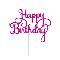 Happy Birthday Cake Topper Sign Large - Pink