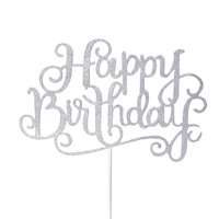 Happy Birthday Cake Topper Sign Large - Silver