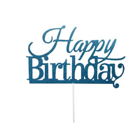 Happy Birthday Cake Topper Sign  - Blue