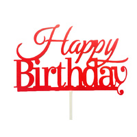 Happy Birthday Cake Topper Sign  - Bright Red