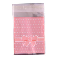 Pink Bow Self Adhesive Bag 10cm 25pcs
