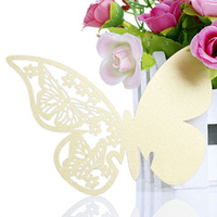Gold Butterfly Wine Glass Name Card Pack Of 10