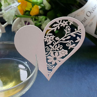 White Heart Wine Glass  Name Card Pack Of 10