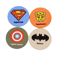 SUPERHERO SILICONE DRINK COASTERS SET OF 4