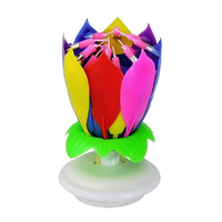 Lotus Flower Musical Birthday Candle Multi Colour