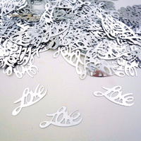 Silver Love Table Confetti 2.5m Around 300pc Pack