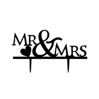 ACRYLIC MR & MRS CAKE TOPPER 17CM