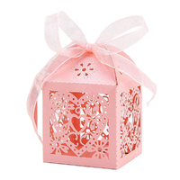 Pink Heart Wedding Favour Boxes - 10 Pack