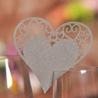 Silver Heart Wine Glass Name Card Pack Of 10