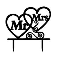 Acrylic Mr & Mrs Heart Cake Topper 13cm